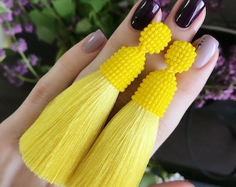 Yellow earrings, Yellow tassel earrings,  Long tassel earrings, Long yellow earrings, Stud earrings