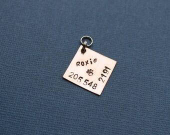 Pet ID tag Cat name tag Pet Name tag pet identification Stamped pet tag Copper pet ID tag Brass Pet ID tag Small Dog Tag