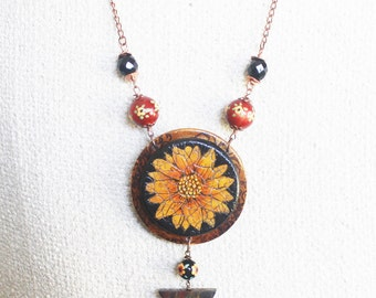 Flower pendant, handpainted necklace, painted wood, flower necklace, shabby and chic jewelry, flower necklace, handpainted beads, gift
