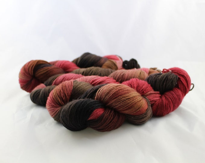 Chocolate Covered Strawberry - Fingering Weight - Sock Yarn - Alice Base - 80/10/10 Merino Cashmere Nylon - 460 Yards/100 Grams