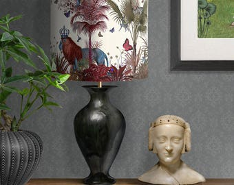Lamp shade Tropical Lions Red - drum lampshade Lion decor jungle tropical decor nursery lampshade red lampshade red room decor lighting