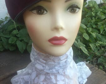 Burgundy Wool Beret Hat From The 60's/womens hat/60s hat/beret/vintage hat/vintage beret/mens and womens hat/