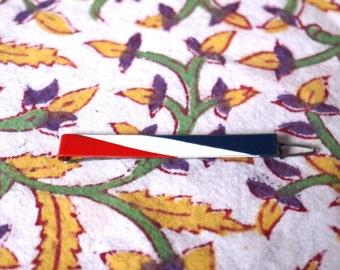 70s vintage neck tie bar - blue white red stripes neck tie bar - ussr neck tie bar - vintage tie clip