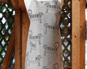 Linen cotton apron Piano cats, funny kitchen apron for women, cute apron, cooking apron