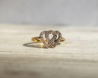 Vintage Art Deco Double Heart Diamond Engagement Ring 1920s Jewelry 18K Gold Diamond Heart Shape Ring 1920s Diamond Engagement Heart Ring