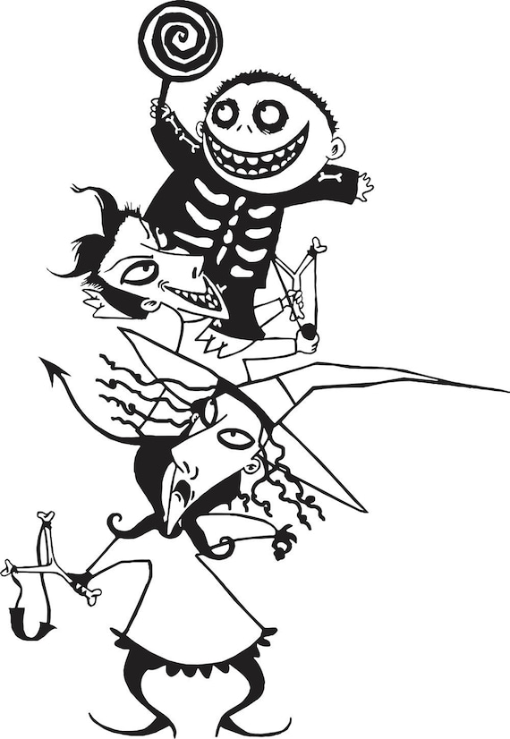static shock coloring pages | Nightmare Before Christmas Lock Shock and Barrel Halloween