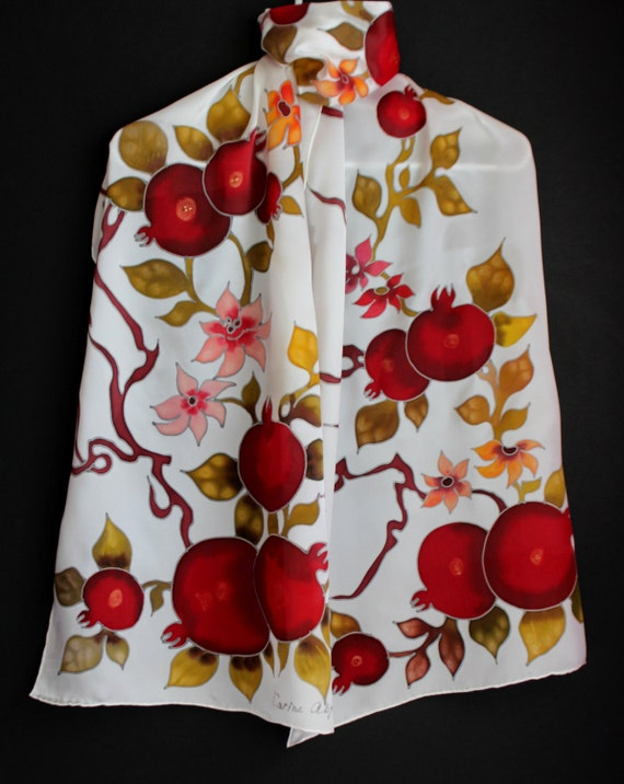 White painted scarf,Satin scarf,Long silk scarf,White red scarf,Gift for her,Painted silk,Armenian Jewish pomegranate,Gift for mother,Batik