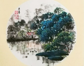 Original Chinese Ink and Wash Painting, Zen Water Town Landscape, 24x27cm, Chinese Painting, Wall Art, Home Decor, Great Gift!