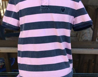 Polo shirt, small/petite, short sleeve, American Eagle, pinkish & blue- small