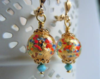 Dangling earrings, gold filled, glass of Murano Venice sleepers, gold leaf Harlequin, turquoise Swarovski Crystal, Bohemian chic