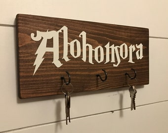 Alohomora Key Holder / Harry Potter Key Holder / Harry Potter Sign / Harry Potter Wall Art / Hogwarts / Harry Potter Key Rack / Key Hooks