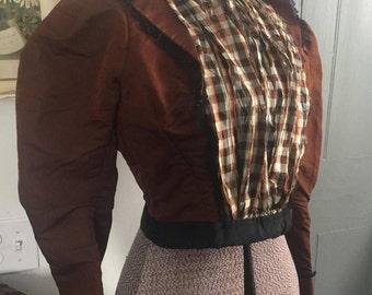 Vintage 1890's 1900's brown Victorian blouse