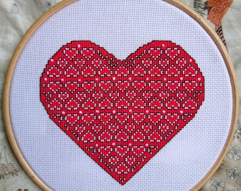Full of Hearts Cross Stitch Pattern / Heart Pattern / Love Pattern / PDF / Instant Download Only