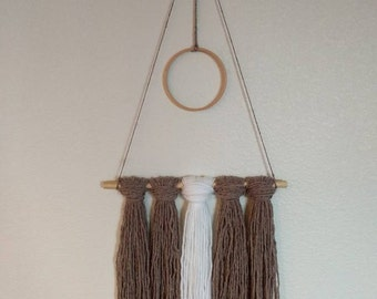 Boho Yarn Style Wall Hanging (taupe) | Modern Wall Art | Boho Chic | Wall Tapestry