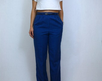 SALE - 1970s High-Waisted Blue Bottoms With Belt // Vintage Blue High-Waisted Pants
