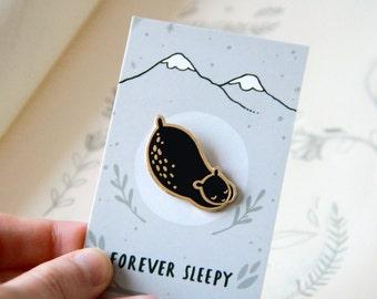 Sleepy Black Bear Enamel Pin