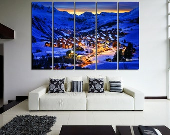 Large Wall Winter Canvas Ski Resort Multipanel Canvas Alps Art Large Nature 1-3-4-5 Panel Winter Mountains
