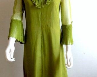 1960s Dress / Roney Couture Mayfair / Silk /Ruffles / Pleats / Green / S-M