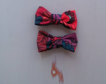 Floral pigtail bows, fabric hair bow, Floral hair bow