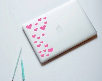 Heart Laptop Sticker, Hearts, MacBook decal, Laptop Decal, Computer Decal, Home Decor, Laptop decor, Removable Decal for laptop