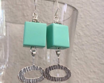 Aqua Murano Glass and Sterling Silver Earrings