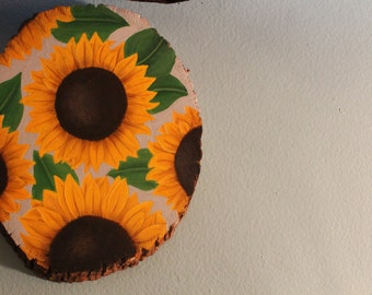 Acrylic Sunflower, Wood Sign, Wall Hanging, Wood Slab, Wooden Sign, Art