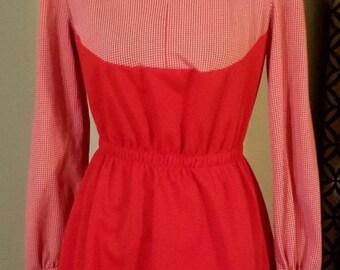 1960's Mod Checkered Color Block Mini Dress. Size 6/8