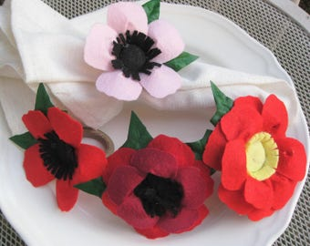 wedding guest gift, new home red poppy flower, Party table napkins ring, wedding tables decor,  party favor, place cards holder,