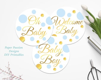 Gold and Blue Cupcake Topper ~ Baby Shower Decor ~ Polka Dot Baby Boy Shower ~ BGld20