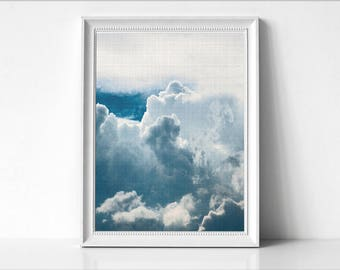 Clouds Print, White Clouds Print, Printable Clouds, Clouds Art Print, Clouds Art, Blue Sky Decor, Minimalist Art, Modern Wall Print