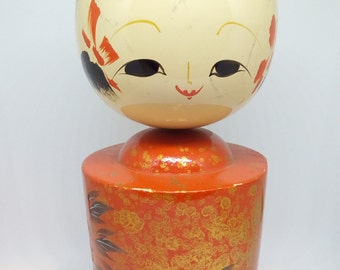 vintage kawaii kokeshi ningyo-a wooden doll- red and gold painted-a gentle boy-