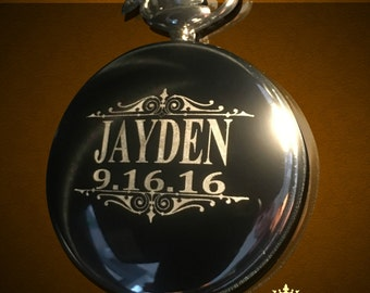 Groomsmen gift - Personalized Silver Pocket watch - Groom and Bride gifts - Best man, Usher and Groomsman gift - Wedding gift