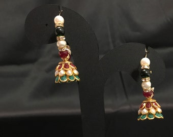 Multi Colored Jhumki Earrings - Indian Jewelry - Indian Earrings - Kundan Jewelry - Temple Jewelry - Desi Jewelry - Bollywood Jewelry -