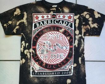 Barricade Bleached Band T Shirt / Bleach Distressed Barricade Band T Shirt Size Medium