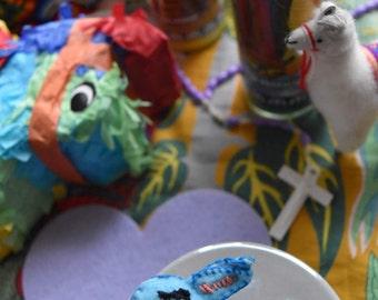 Cutie Conejito Felt Brooch / Pin in Blue Bunny