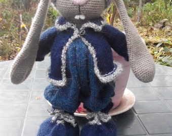 Crocheted Rabbit Classical Teddy Toy Stuffed Animal Gift Crochet Knitted Toys Stuffed Toy Gift Bunny Rabbit Toy Bunny Kids Plush Knit Toy