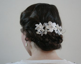 Bridal Beaded Flower Hair Piece, wedding hair jewelry, brides head piece, floral hair comb, hair accessory, lace, bead embroidery