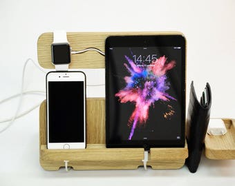 SALE! July 4th Apple Watch Docking Station, iPhone stand iPad stand Desk organizer Docking iPhone 7 Gear for iPad iPhone Docking Desk