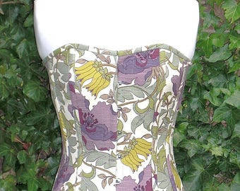 Heath and Hill Corset, Linen Overbust Boned, Front Busks and Ribbon Lacing at the Back