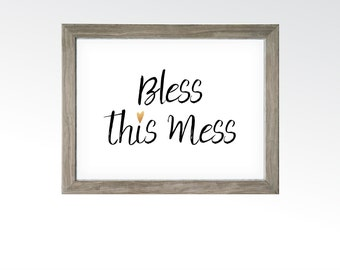 Bless This Mess Sign - Home Bedroom Decor - Sassy Funny Wall Art - Rose Gold Copper Heart - Printable Digital Art - INSTANT DOWNLOAD