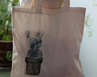 TOTE BAG Yellow cacti with a pocket