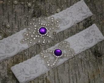 Bridal garter set/Rhinestone garter/Lace garter/purple garter/ purple rhinestone garter/bridal/rhinestone garter/bridal gift
