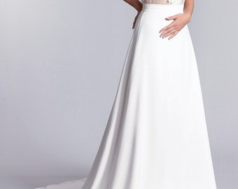 Long white bridal skirt, Bridal skirt, Bridal white crepe skirt with a train