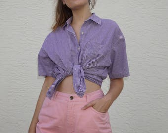 80's Purple Gingham Button Up / S / M / L