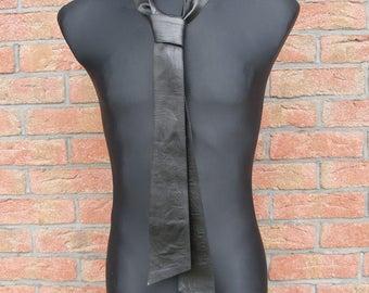 black leather neck tie-obi belt-leather neck tie-waist wrap belt-dress belt-coat belt-black leather sash-leather tie belt-wrap obi belt