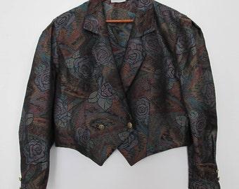 Vintage jacket / cropped jacket / double breasted jacket / 90s jacket / canvas jacket / bomber jacket / baloon sleeve / oversized jacket