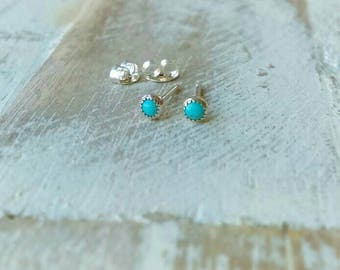 Turquoise Stud Earrings, 3mm Kingman Turquoise Earrings, Sterling Silver Studs, Natural Turquoise, Post Earrings, Serrated or Round Bezel