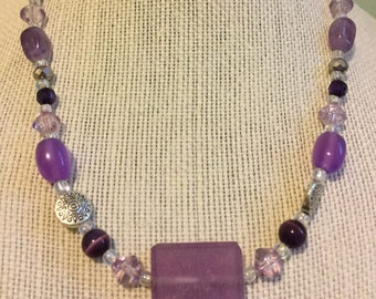 """Upcycled Jewelry """"Lilac"""" Beaded Necklace - Made with Vintage/ Recycled Materials"""