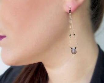Labradorite earrings, Long gemstone earrings, 14K gold earrings, Spinel gold earrings, Black diamond earrings, Dangle earrings, Dainty, Gift