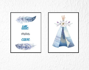 Baby Boy Nursery Print Set of 2, Tribal Nursery Print, Set of 2 Prints, Little Man Cave, Boy Nursery Wall Art, Boho Nursery Prints Boy